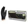 AMMEX - ABNPF44100 - Black Nitrile Gloves, 4 mil, Latex Free, Powder Free, Textured, Disposable, Non-Sterile - Medium - 100/Pack