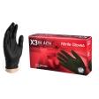 AMMEX - BX349100XXL - X3 Black Nitrile Powder and Latex Free Gloves, Large - 100/Pack