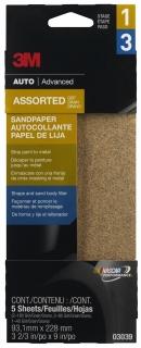 3M - 03039 - Sandpaper, Assorted Grit, 3 2/3 inch x 9 inch
