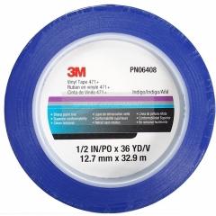 3M - 06408 - Vinyl Tape, 06408, 471+ PN6408, 1/2 in x 36 yd, Boxed, Blue