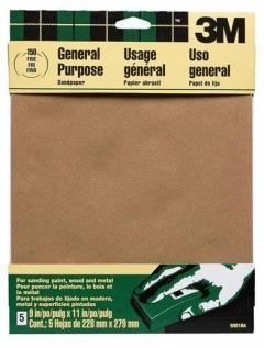 3M - 09001 - Aluminum Oxide Sandpaper, 9001NA, 9 in x 11 in Fine